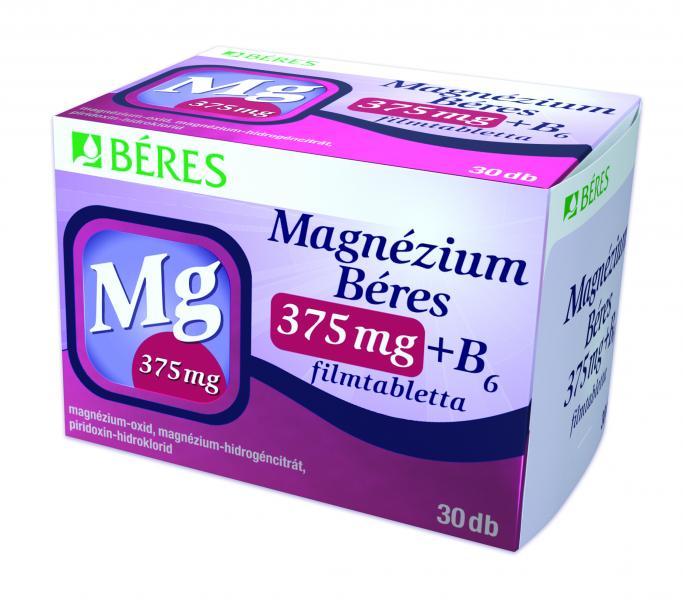 Magnézium Béres 375 mg + B6 filmtabletta, 30 db