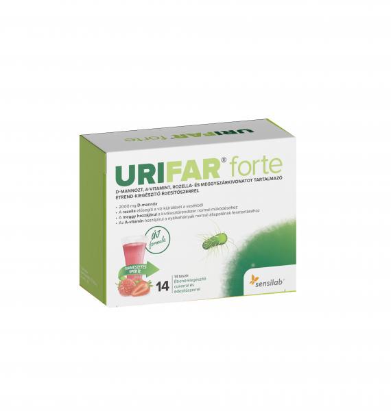 URIFAR FORTE D-mannózt, A-vitamint, rozella- és meggyszárkivonatot tartalmazó étrend-kiegészítő édesítőszerrel