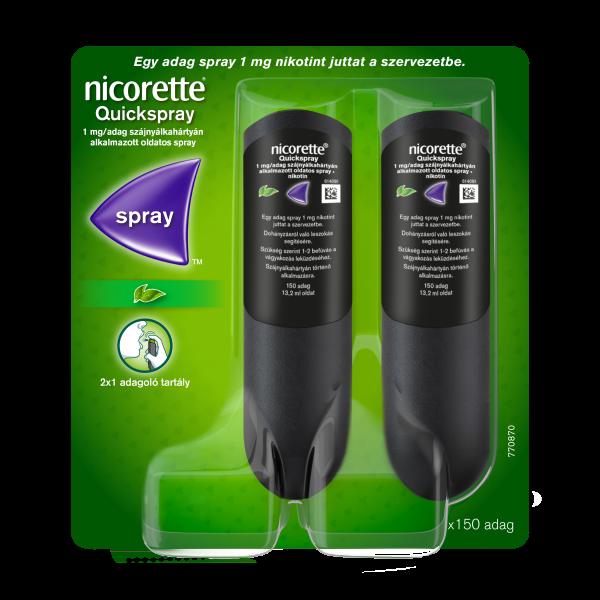 Nicorette® Quickspray 1 mg/adag szájnyálkahártyán alkalmazott oldatos spray 2x13,2ml