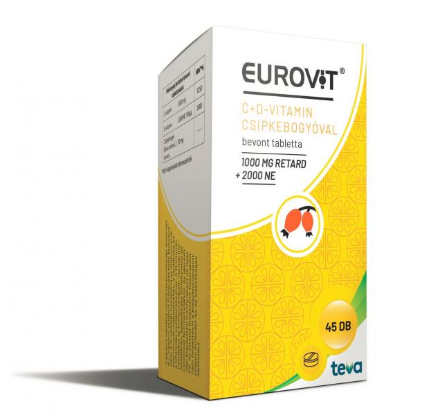 Eurovit C-vitamin 1000 mg retard + D-vitamin 2000 NE + csipkebogyóval 45x